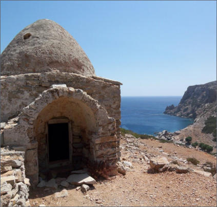 Ancient building in Saria islet Olympos Karpathos